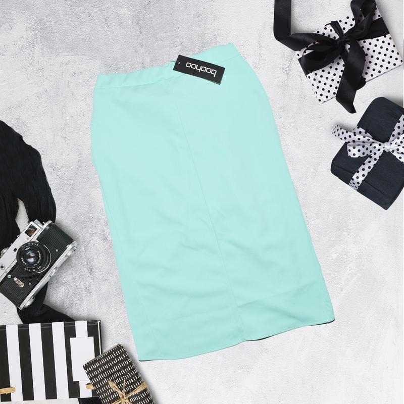 Миди юбка ментолового цвета с бантом boohoo - Фото 3