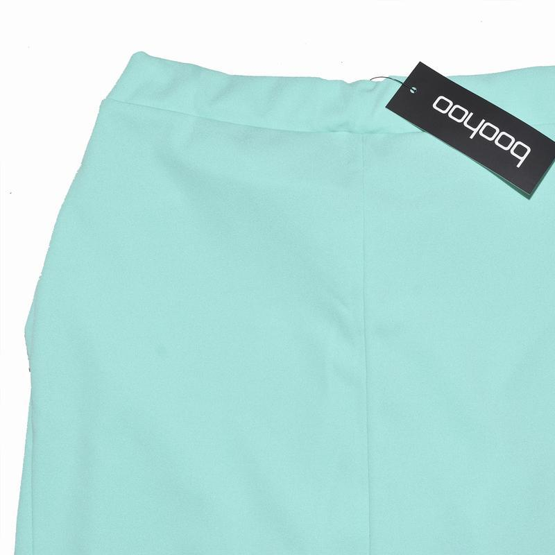 Миди юбка ментолового цвета с бантом boohoo - Фото 4