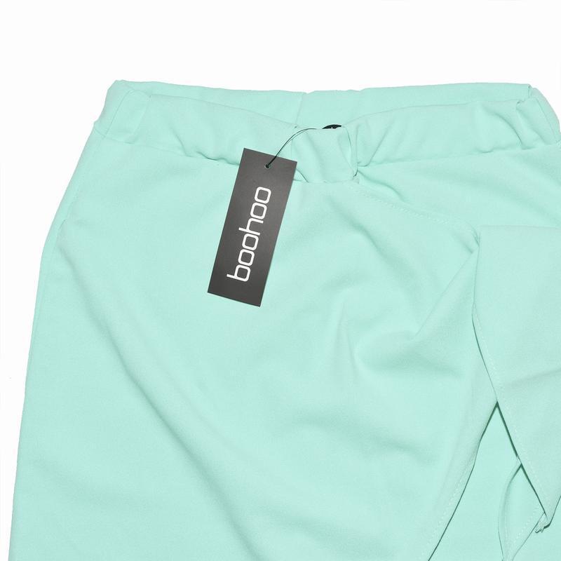 Миди юбка ментолового цвета с бантом boohoo - Фото 7