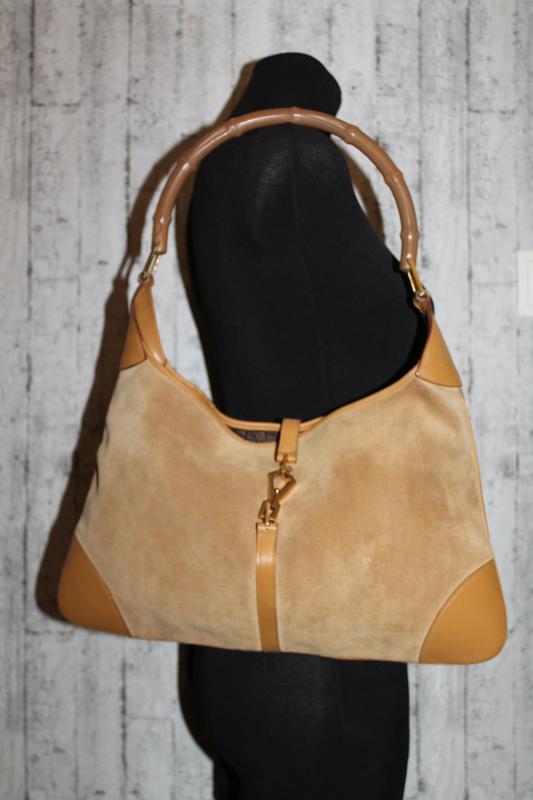 Gucci bamboo jackie оригинальная замшевая/кожаная сумка серийн...