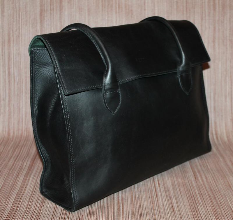 Кожаная прочная и качественная деловая сумка из плотной кожи - Фото 3