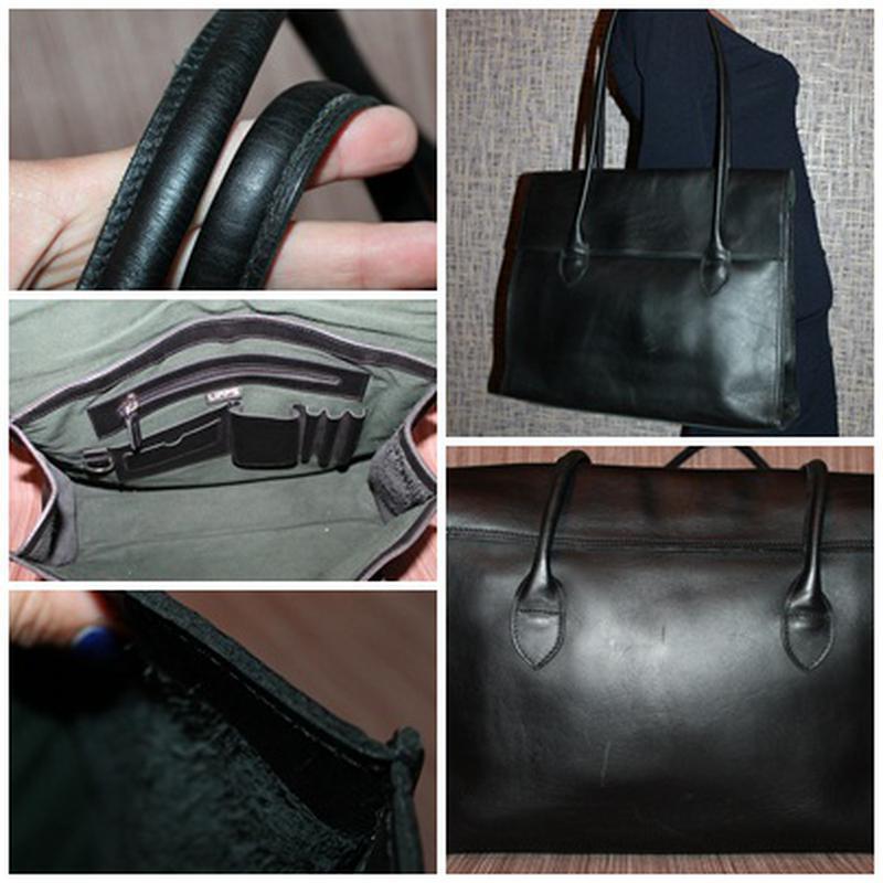 Кожаная прочная и качественная деловая сумка из плотной кожи - Фото 5