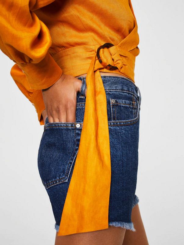 Джинсовые шорты mango свободного кроя - Фото 7