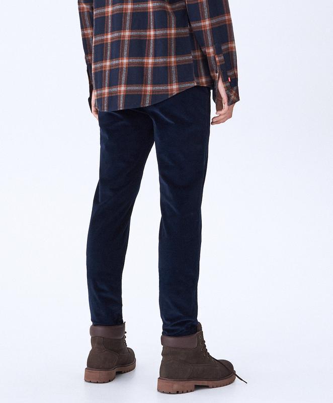 Вельветовые брюки чиносы зауженные chino slim  house m long - Фото 3
