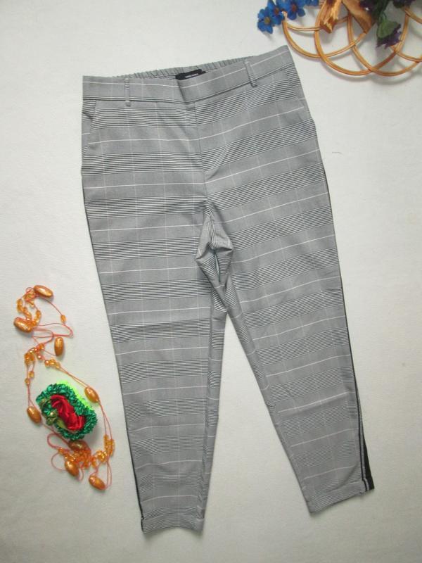 Шикарные трендовые стильные модные меланжевые брюки в клетку с... - Фото 3