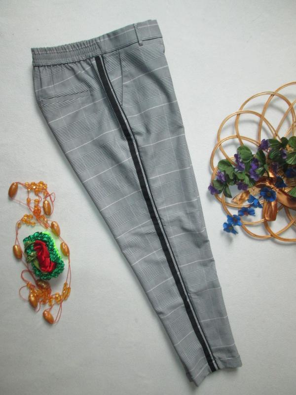 Шикарные трендовые стильные модные меланжевые брюки в клетку с... - Фото 6