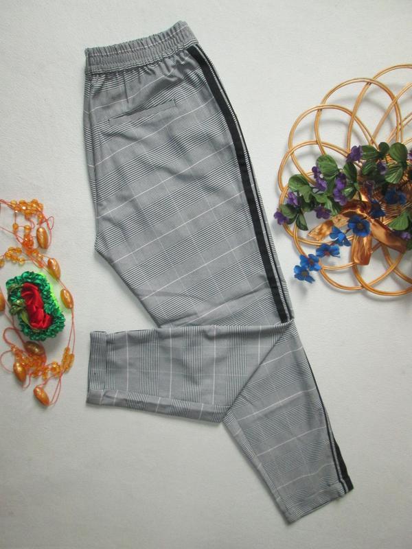 Шикарные трендовые стильные модные меланжевые брюки в клетку с... - Фото 7