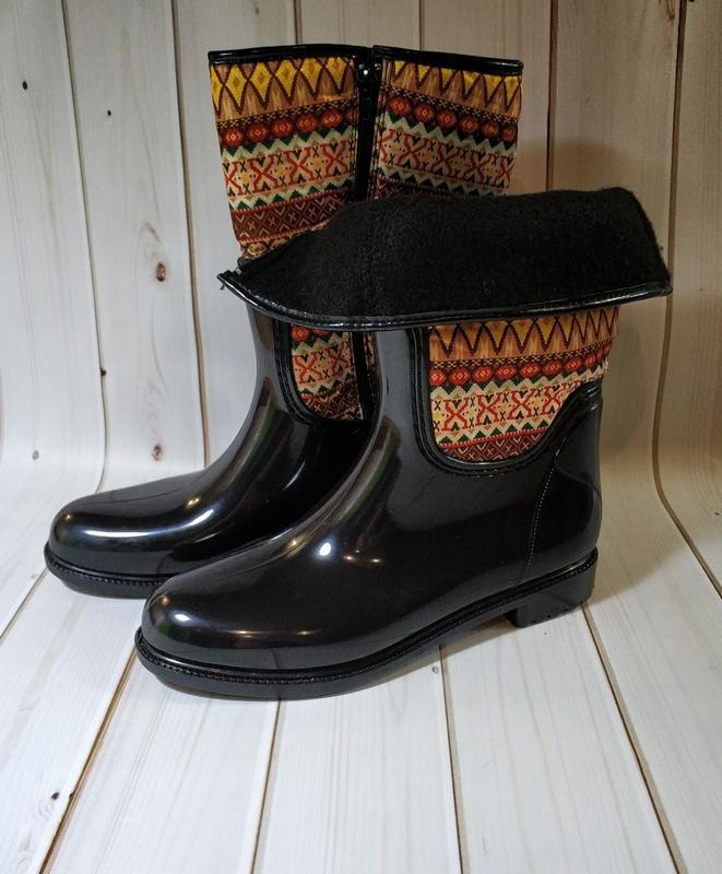 Женские резиновые утепленные сапоги,полусапоги,ботинки - Фото 2