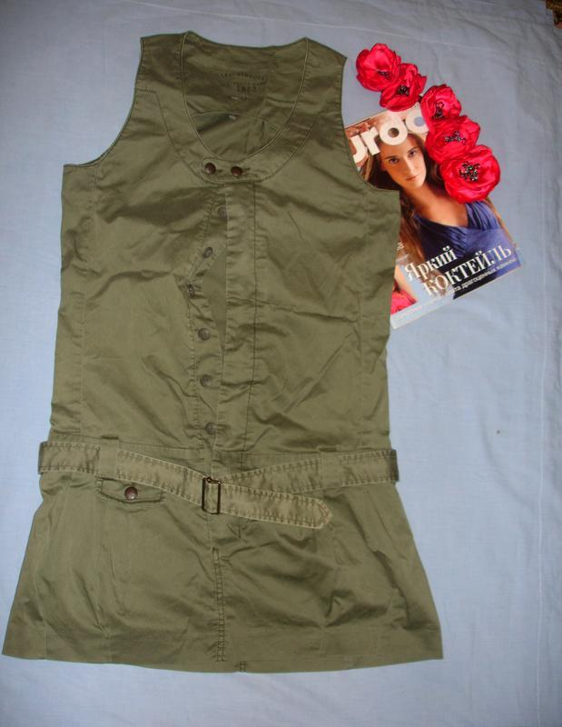 Платье сарафан сукня защитного цвета хаки размер 42-44 / 10 ко...