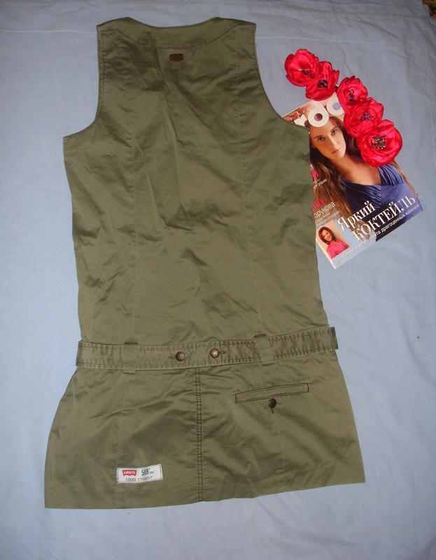 Платье сарафан сукня защитного цвета хаки размер 42-44 / 10 ко... - Фото 4