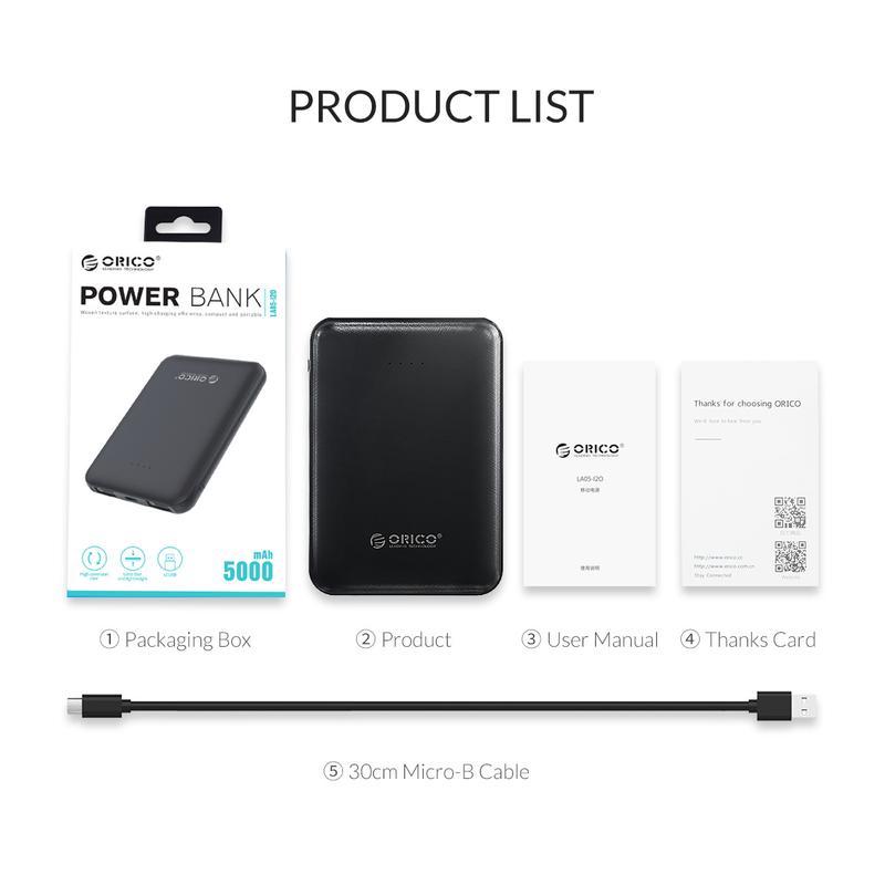 Внешний аккумулятор ORICO LA05-I2O Mini Power bank Повербанк 5000 - Фото 13
