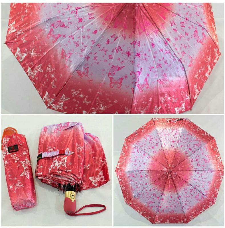 Зонт полуавтомат с бабочками.