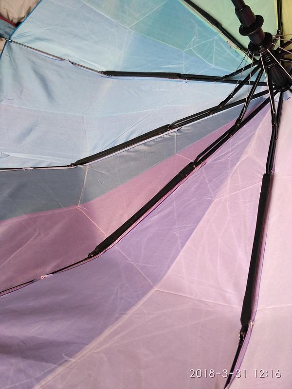 Зонт полуавтомат радуга антиветер.женский зонт веселый. - Фото 3