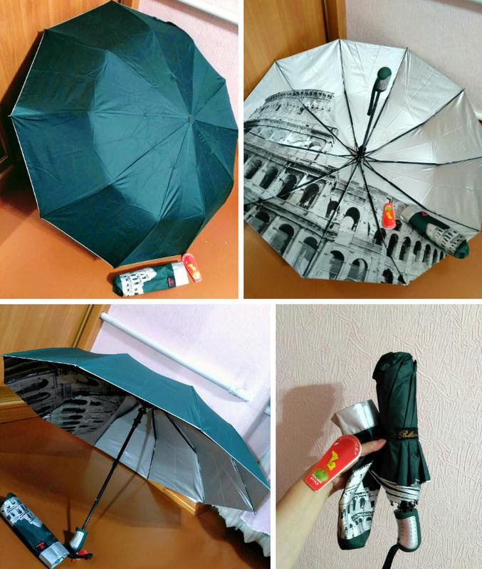 Зонт полуавтомат внутри рисунок на серебре, зелёный,10спиц ант...