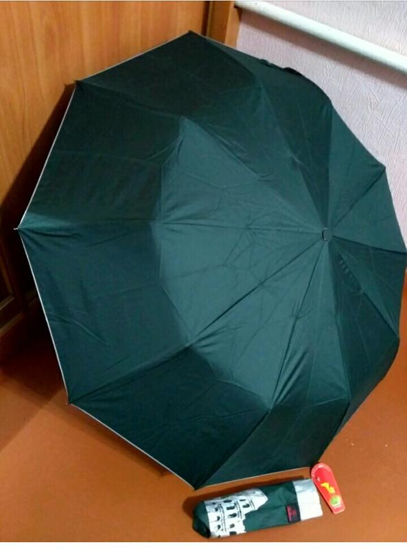 Зонт полуавтомат внутри рисунок на серебре, зелёный,10спиц ант... - Фото 2
