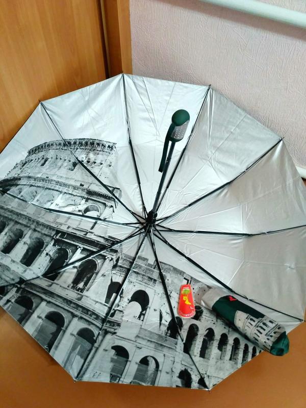 Зонт полуавтомат внутри рисунок на серебре, зелёный,10спиц ант... - Фото 3
