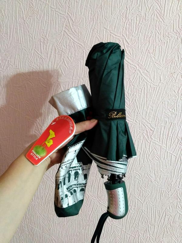 Зонт полуавтомат внутри рисунок на серебре, зелёный,10спиц ант... - Фото 4