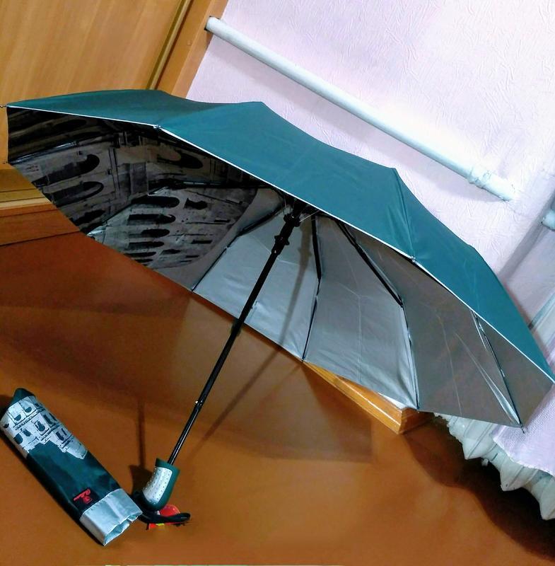 Зонт полуавтомат внутри рисунок на серебре, зелёный,10спиц ант... - Фото 5