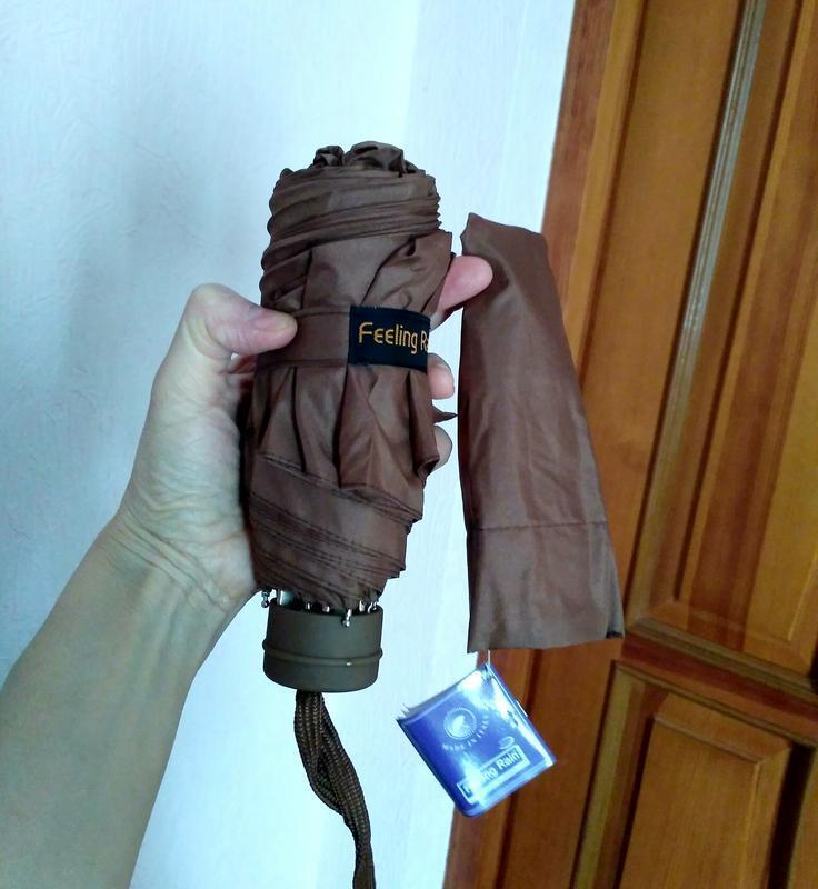 Компактный коричневый зонт, механика,в сумочку дежурный.