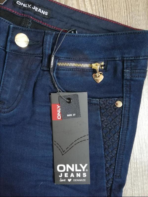 Темно-синие джинсы скинни only 27 - Фото 2