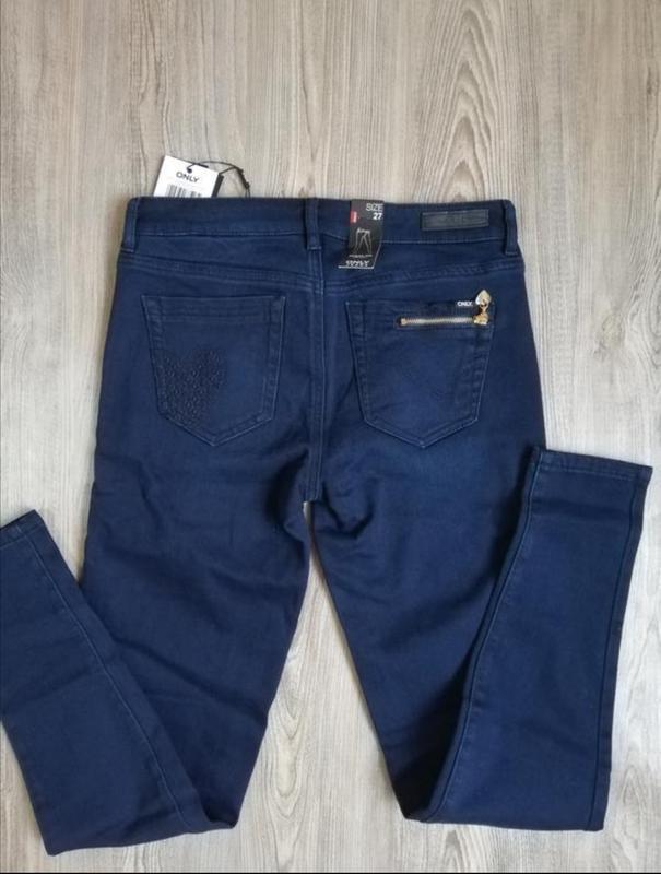Темно-синие джинсы скинни only 27 - Фото 3