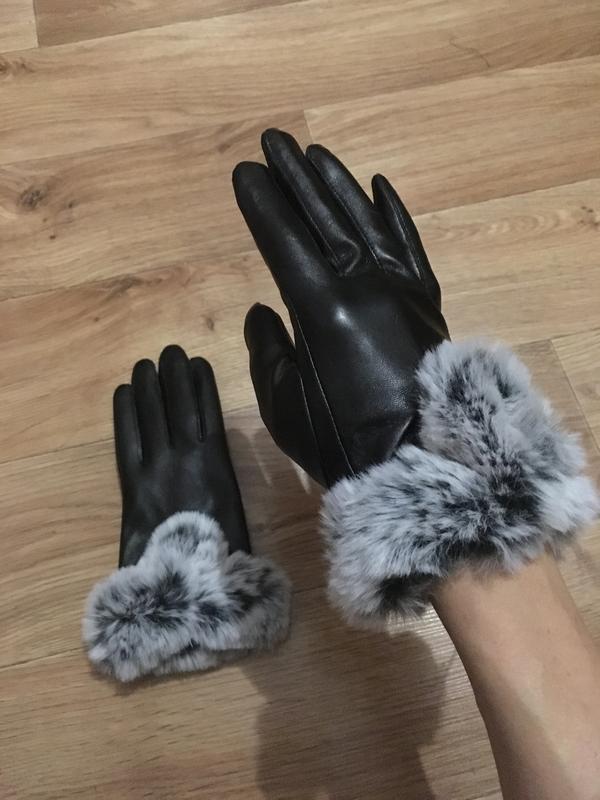 Новые теплые красивые кожаные перчатки с мехом - Фото 2