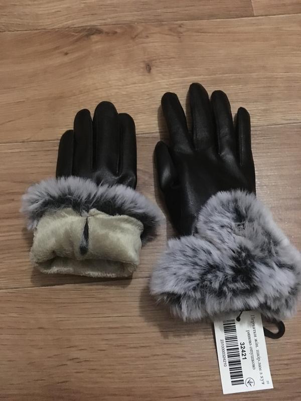 Новые теплые красивые кожаные перчатки с мехом - Фото 4