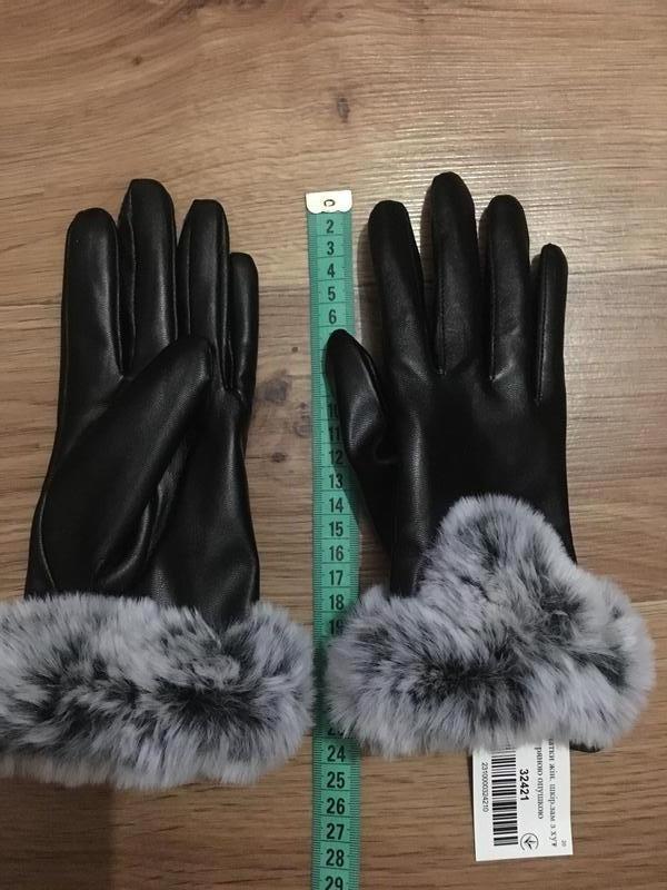 Новые теплые красивые кожаные перчатки с мехом - Фото 6