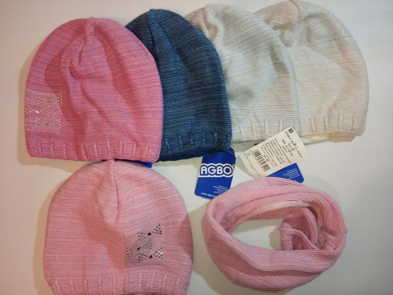 Вязаная шапка  и хомут agbo (польша)для детей с люрексной нитью - Фото 4