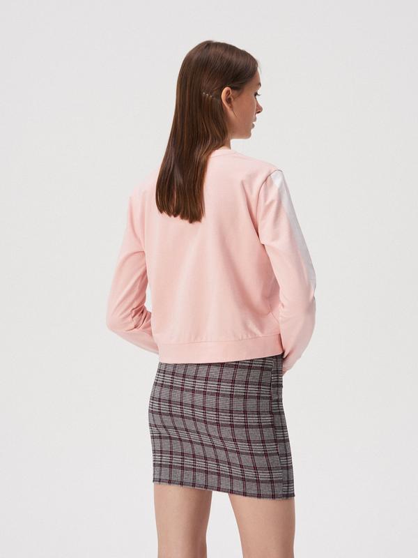 Трикотажная юбка с принтом в клетку - Фото 3