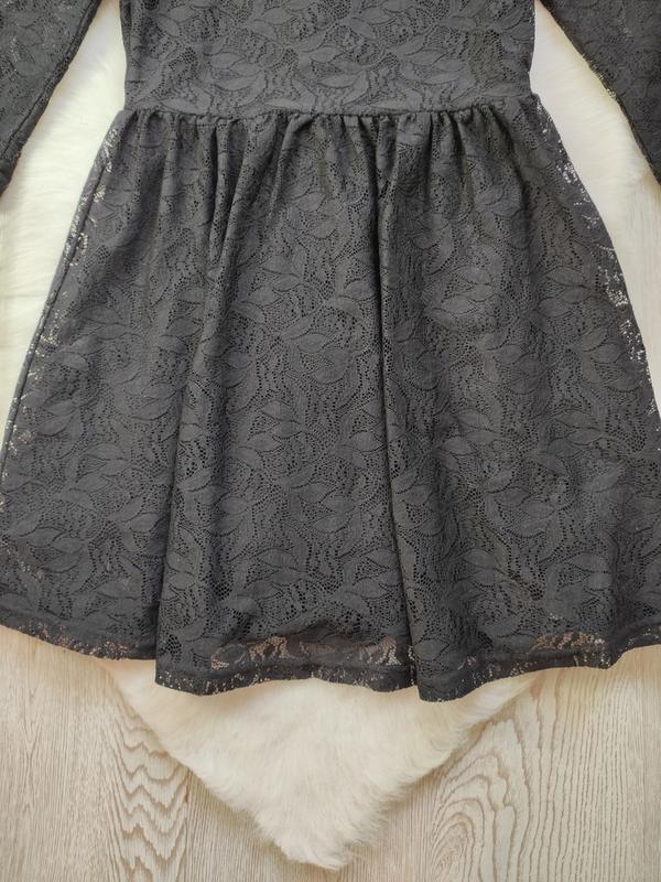 Черное короткое нарядное ажурное платье с длинными рукавами ги... - Фото 6