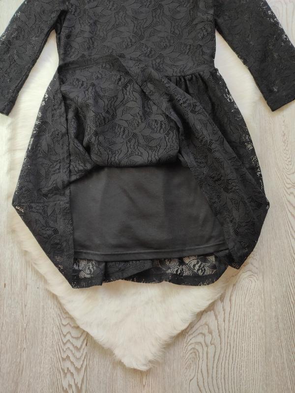 Черное короткое нарядное ажурное платье с длинными рукавами ги... - Фото 7