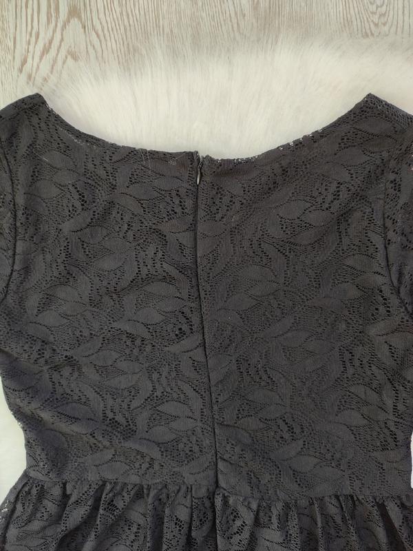 Черное короткое нарядное ажурное платье с длинными рукавами ги... - Фото 9
