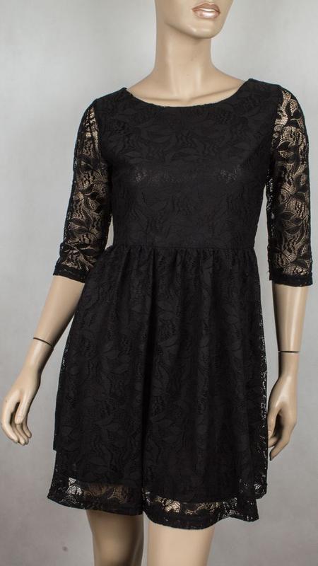 Черное короткое нарядное ажурное платье с длинными рукавами ги... - Фото 10