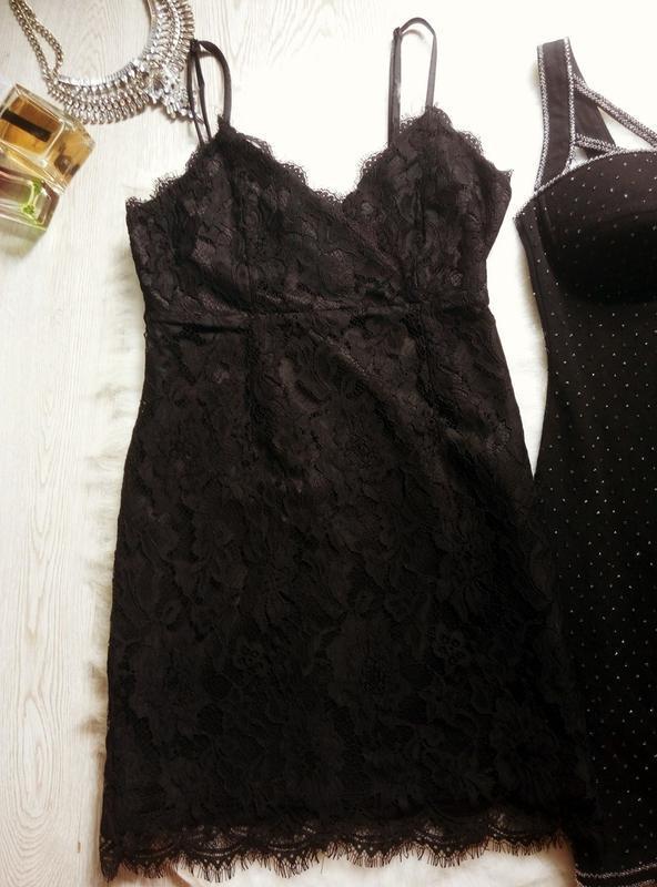 Черное ажурное мини короткое платье с гипюром в бельевом стиле... - Фото 2