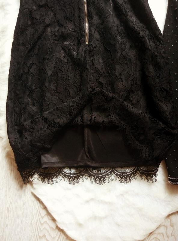 Черное ажурное мини короткое платье с гипюром в бельевом стиле... - Фото 6