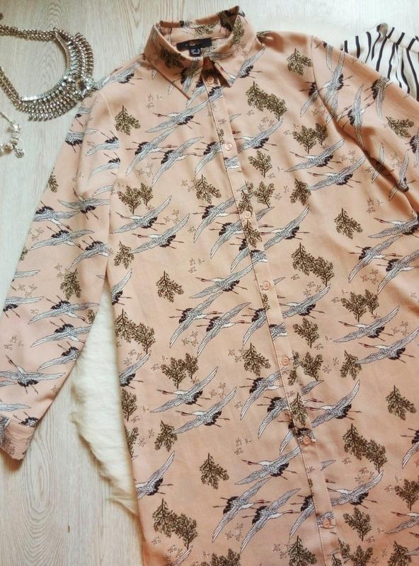 Розовая бежевая длинная миди рубашка платье с рукавами цветочн... - Фото 2