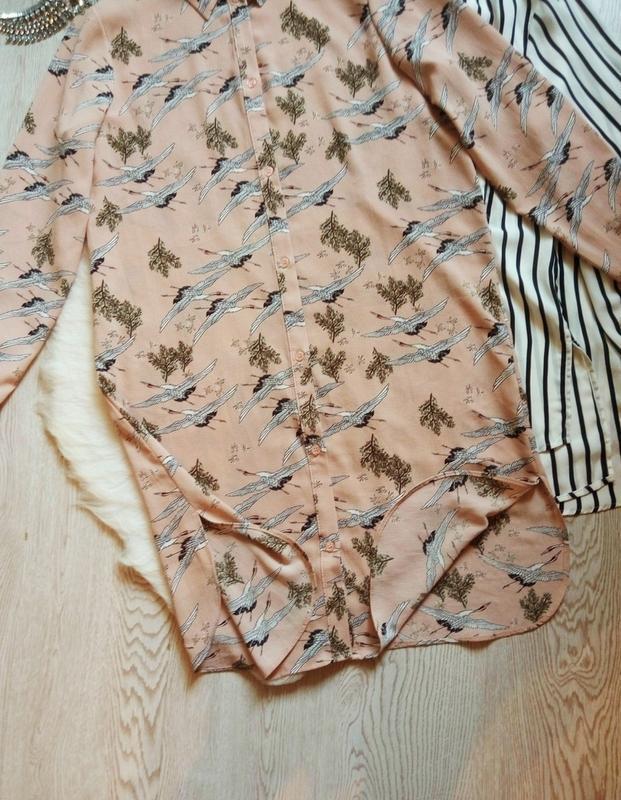 Розовая бежевая длинная миди рубашка платье с рукавами цветочн... - Фото 4