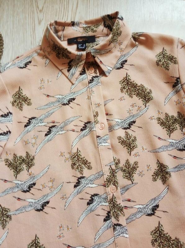 Розовая бежевая длинная миди рубашка платье с рукавами цветочн... - Фото 6