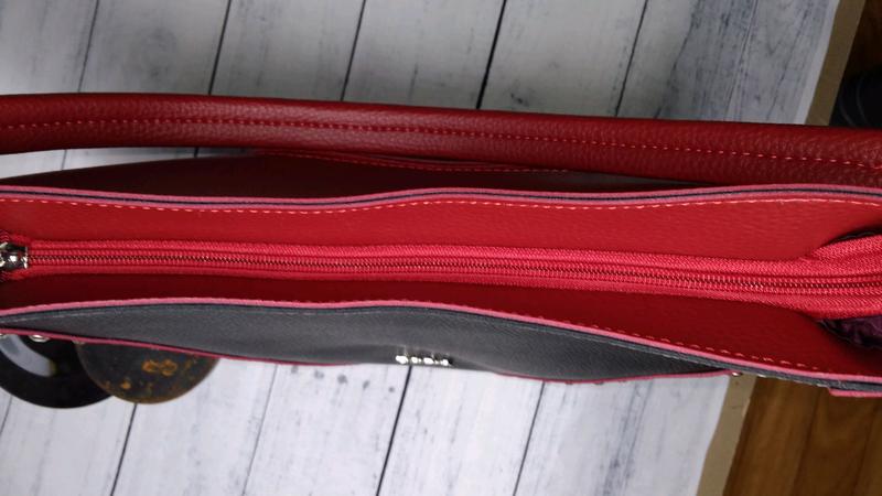 Сумка- шоппер красная с черным - Фото 4