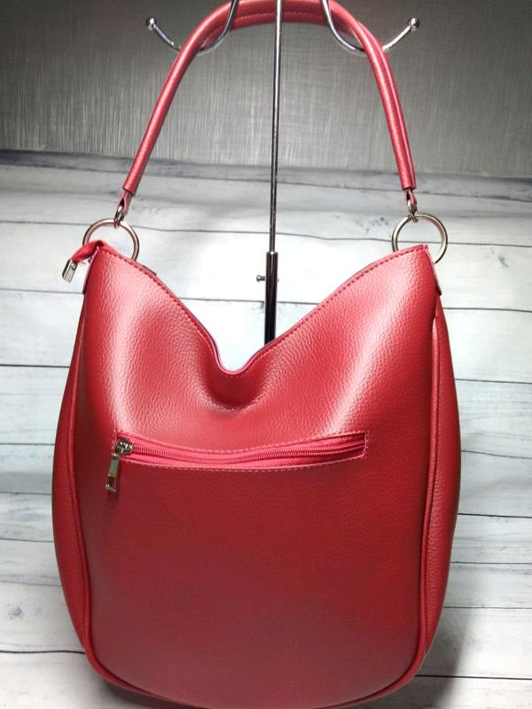 Сумка- шоппер красная с черным - Фото 3