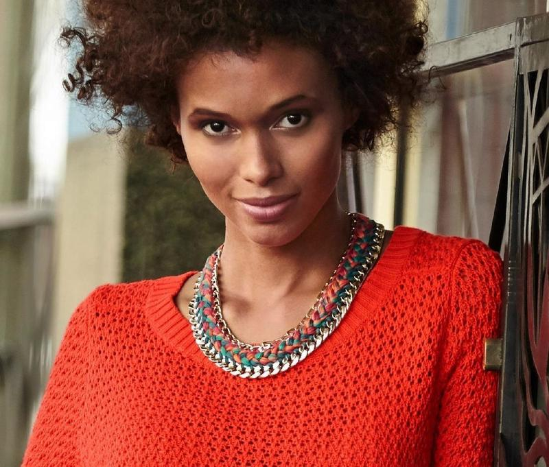 Яркий вязаный ажурный свитер tcm tchibo - Фото 2