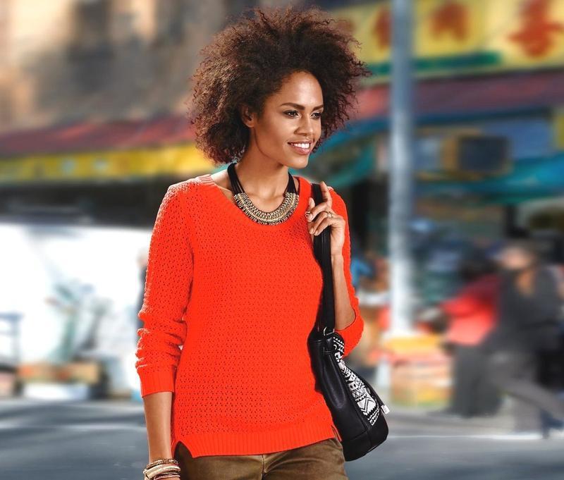Яркий вязаный ажурный свитер tcm tchibo - Фото 4