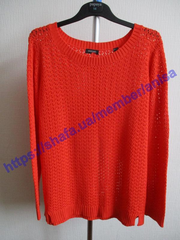 Яркий вязаный ажурный свитер tcm tchibo - Фото 5