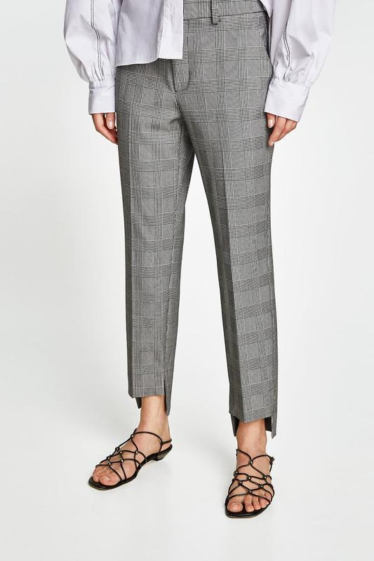 Интересные стильные брюки в клетку принт гусиная лапка zara