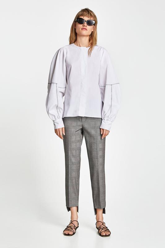 Интересные стильные брюки в клетку принт гусиная лапка zara - Фото 2