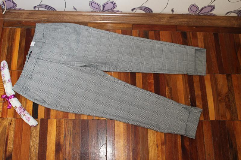 Интересные стильные брюки в клетку принт гусиная лапка zara - Фото 4