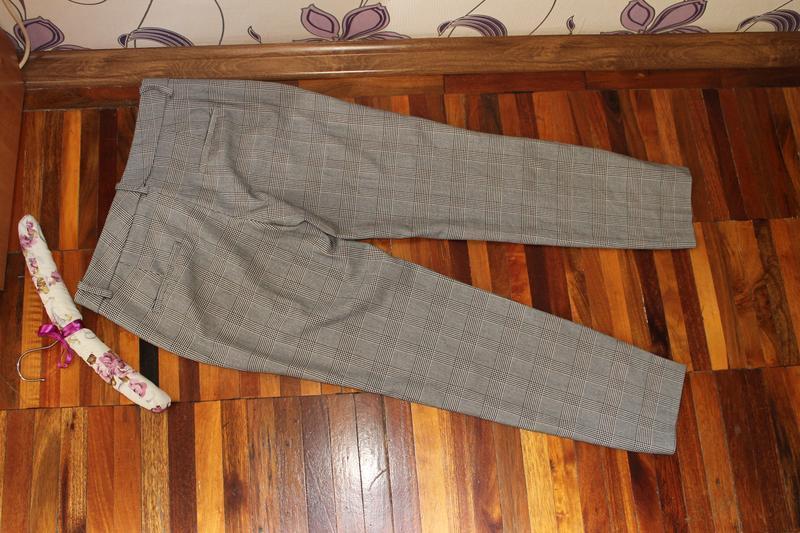 Интересные стильные брюки в клетку принт гусиная лапка zara - Фото 5