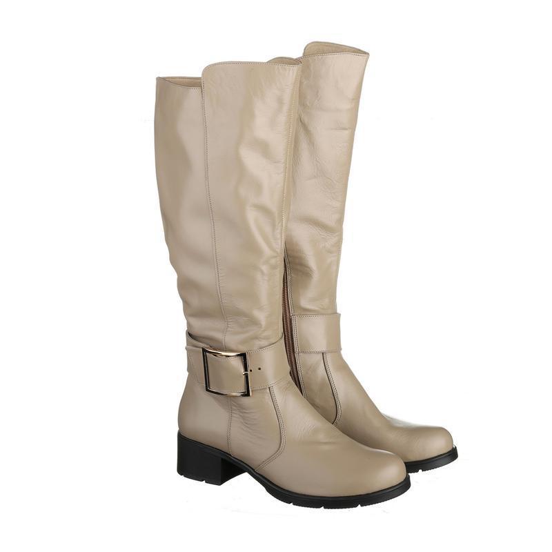 Скидка! кожаные женские бежевые демисезонные сапоги низкий каб... - Фото 2