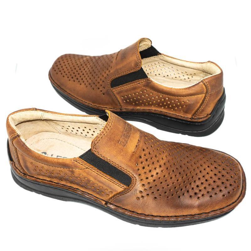 Польские летние туфли леста из натуральной кожи. - Фото 4